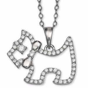 "Cubic Zironia Scottie Dog 18"" Pendant Necklace SS"
